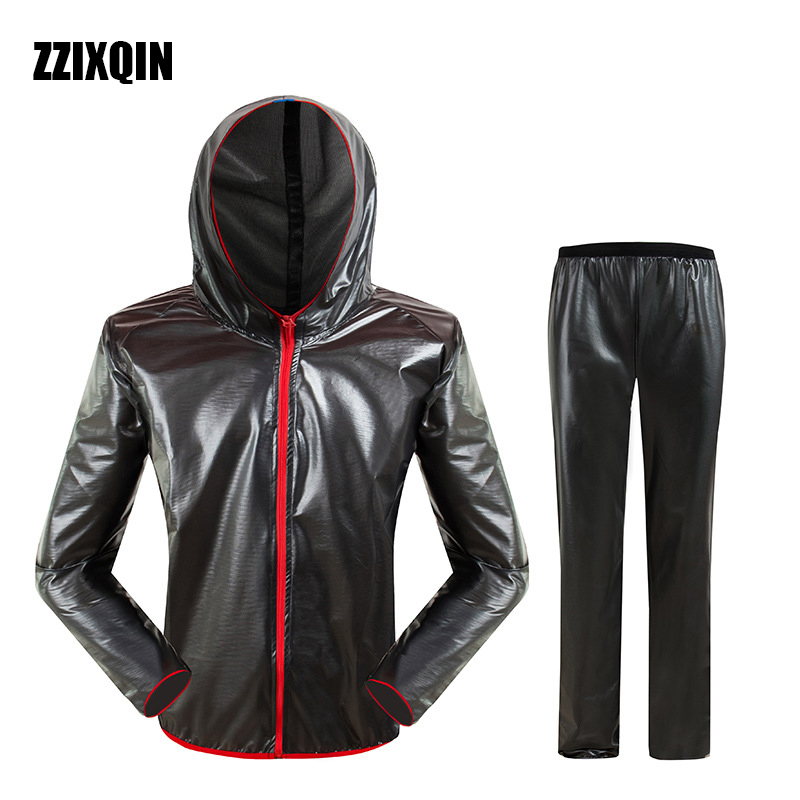 ZZIXQIN Waterproof Raincoat Outdoor Fashion Sports Raincoat Men for Women Grey Riding Motorcycle Rainwear Suit Adult Rain Jacket ...