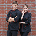 Top quality  Cook suit long-sleeve work wear stand collar double breasted hotel chef uniform polyester cotton cook jacket