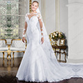 Vestido De Noivas Sereia Long Sleeves Lace Wedding Dress Sexy Mermaid Wedding Dresses Chapel Train Robe de mariage Bride Gowns