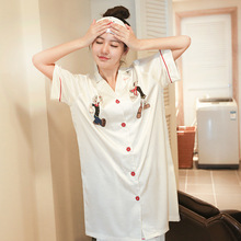 Korean Version New Female Simulation Silk Popeye Short sleeved Summer Ladies Buckle Loose Casual Nightdress Home Clothes Nighty