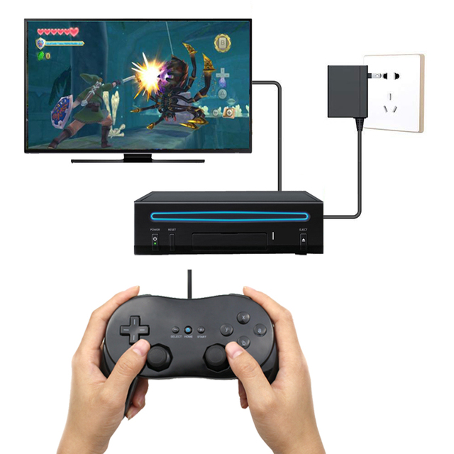 White/Black Classic Wired Game Controller Gaming Pro Remote Game Controller Gamepad For Nintendo Wii