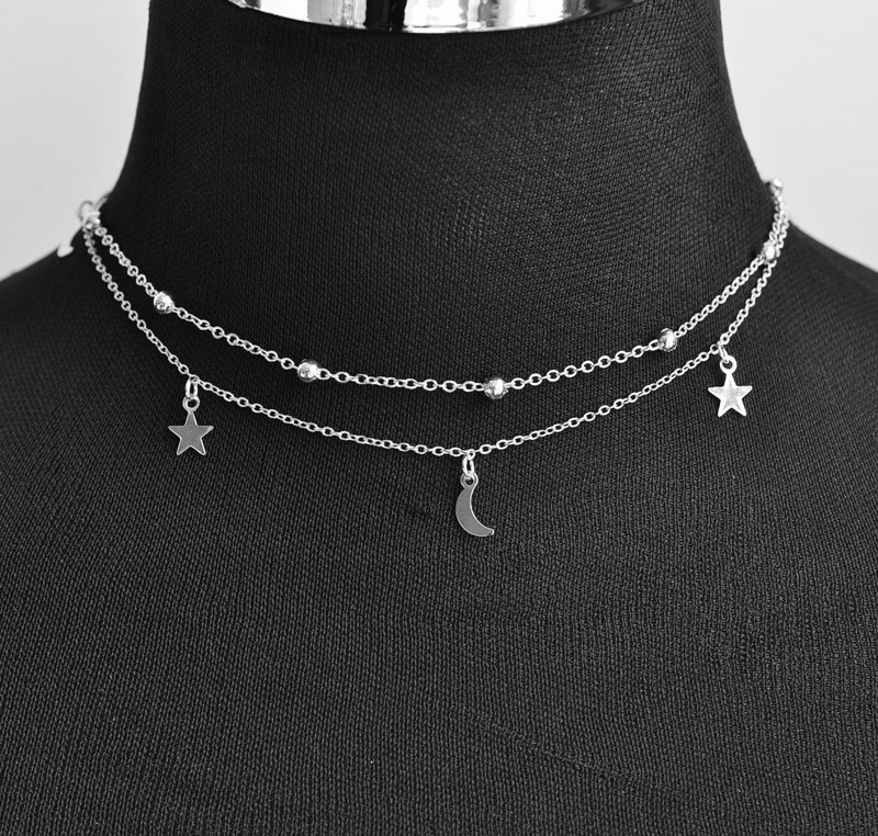 New fashion jewelry 2 layer star moon choker necklace nice gift for women girl (order 3 pieces have 15% off) N2076