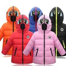 Boys Winter Coat Kids Hooded Jacket glasses Velvet down jacket for girls cartoon padded children winter coat 4 14 Years