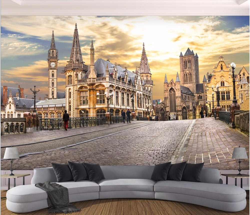 US $14 91 OFF 3d Wallpaper Custom Photo Mural European City Street View Picture Painting Room Wallpaper For Walls 3d Wall Muals Wall