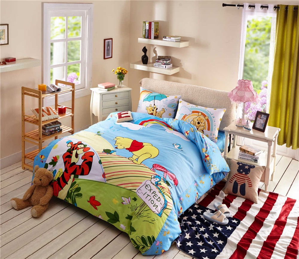 Winnie Pooh Baby Bettwäsche Set Us 95 99 Cartoon Disney Printing Bedding Set Cotton Blue Winnie The Pooh Tigger Comforters Bed Duvet Cover Boy S Bedroom Decor Twin Queen In Bedding