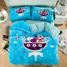 купить Cute Cartoon Designs Blue and White Bedding Set,100% Cotton Home Textiles 4pcs,Queen Size Comforter Sets Bed Sheet set for Adult дешево