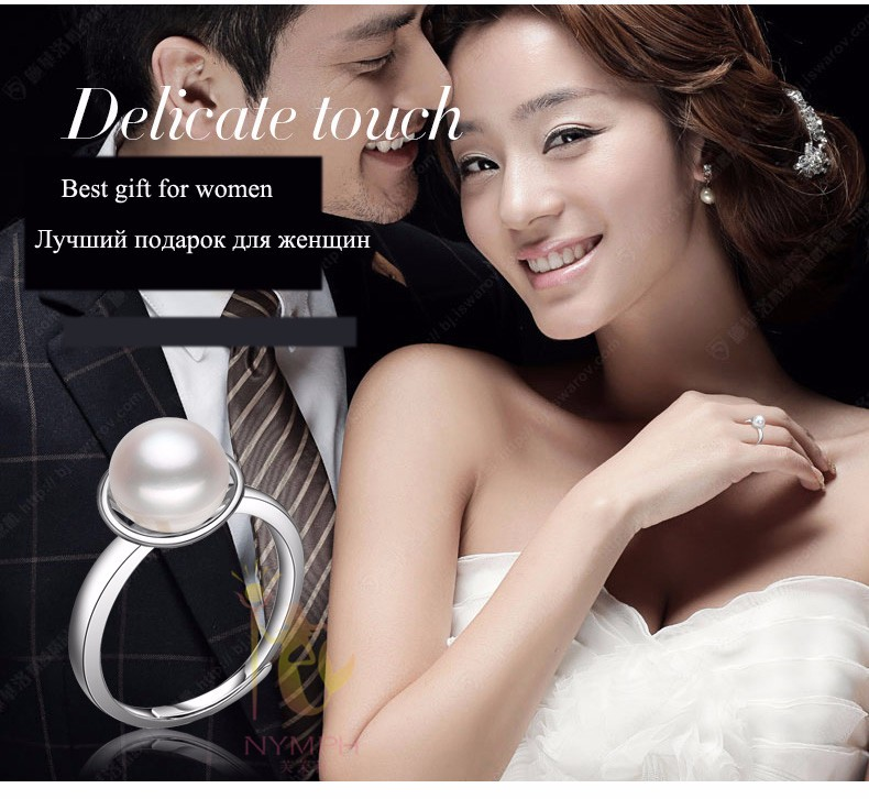 [NYMPH] Pearl Ring For Women Pearl Jearly Real Freshwater Pearl Rings White Natural Pearl Ring For Party  Fine Jewerly R74