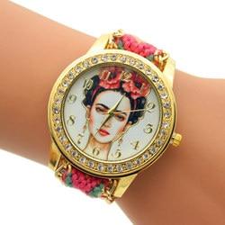 Relojes GENEVA Watches Handmade Braided Friendship Women Bracelet WristWatch Gold Rhinestone Quartz watch Relogio Feminino 2017