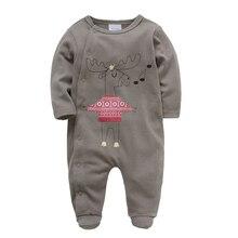 Kavkas/Одежда для новорожденных мальчиков из хлопка с длинными рукавами; комбинезон для младенцев с рождественским принтом; сезон осень-зима; детская одежда для новорожденных