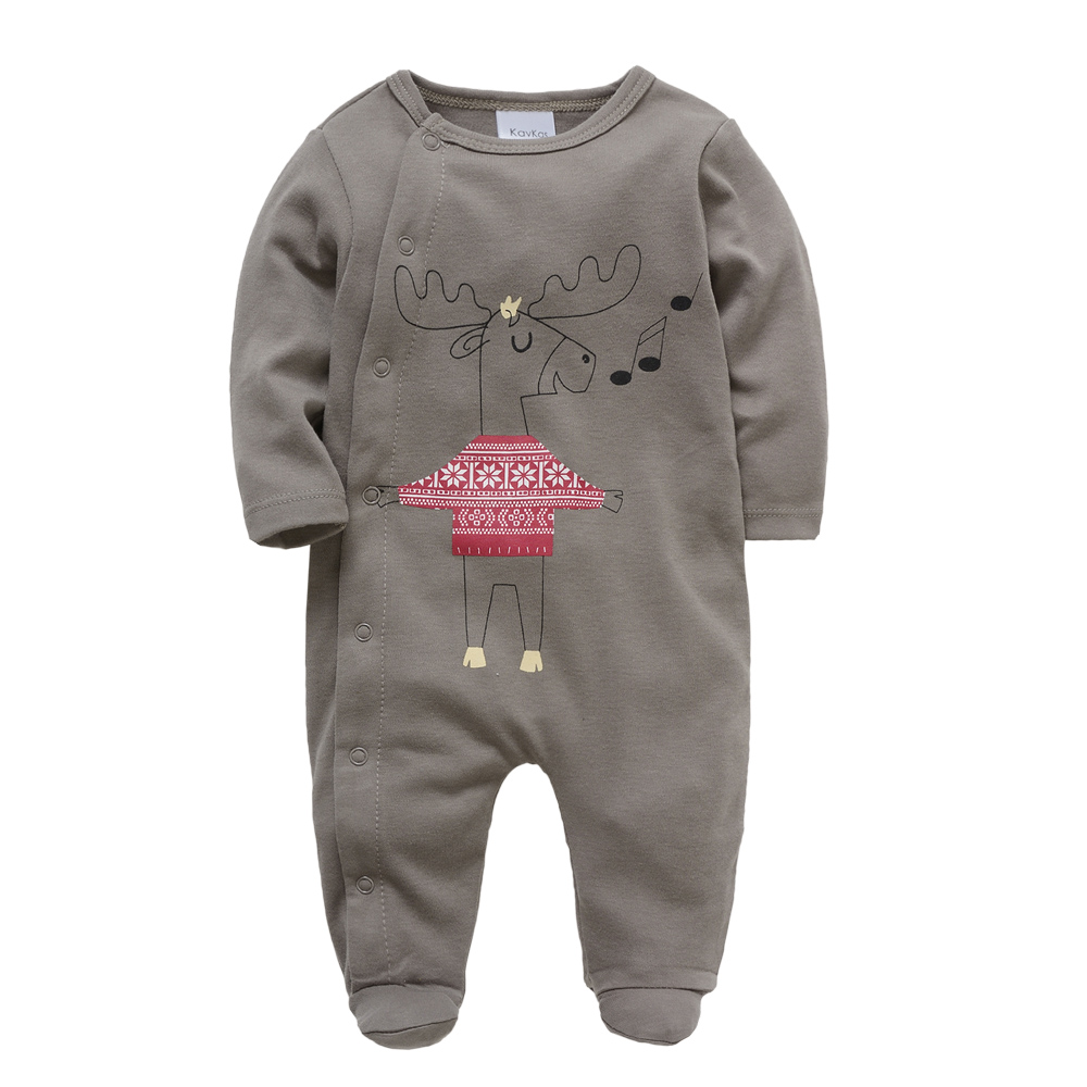 Kavkas Baby Boy Newborn Clothes 100% Cotton Long Sleeve Infant Jumpsuit Christmas Printing Autumn Winter Baby   Romper   Clothing