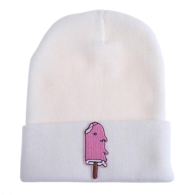 7f6fb58748d Unisex Hat for Women Knitted Beanie Hat Cap for Girls Pink Ice Lolly Knit  Wool Hat Female Male Skullies Couples Stretch Ski Hats