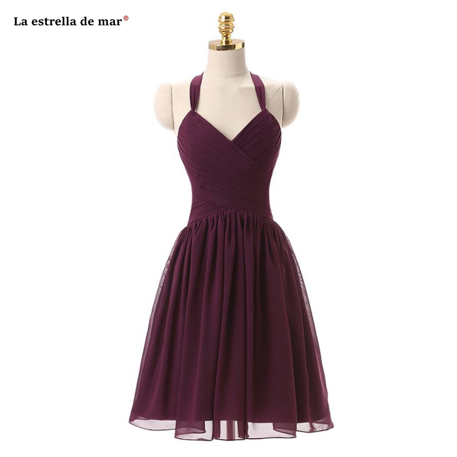 La estrella de mar vestidos de dama de honor mujer 2019 new chiffon Halter Backless a Line burgundy   bridesmaid     dress   Knee Length