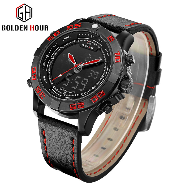GOLDENHOUR Luxury Brand Men Analog Digital Leather Sports Watches Men's Army Military Watch Man Quartz Clock Relogio Masculino weide new men quartz casual watch army military sports watch waterproof back light men watches alarm clock multiple time zone