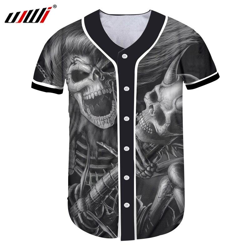UJWI hommes 3D imprimé longs cheveux et Angle crâne homme noir blanc chemise de Baseball grande taille Hip Hop rue vêtements t-shirt 5XL