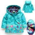Бесплатная доставка доставка-дети / девушки с капюшоном водонепроницаемость куртка, Дети весной цветочные плащ ( MOQ : 1 шт. )