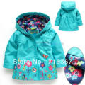 Free Shipping- kids/girls hooded water resistance jacket, kids spring floral Trench coat (MOQ: 1pc)