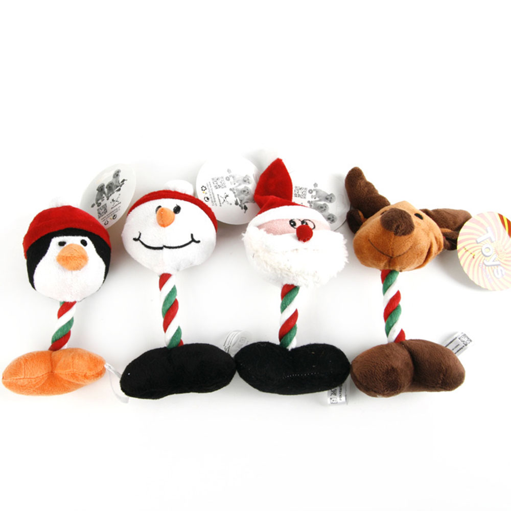 Cute Pet Dog Toys Chew Squeaker Pet Toys Plush Christmas Snowman Cartoon Animal For Dogs Cat Cute Biting Rope Sound Toys