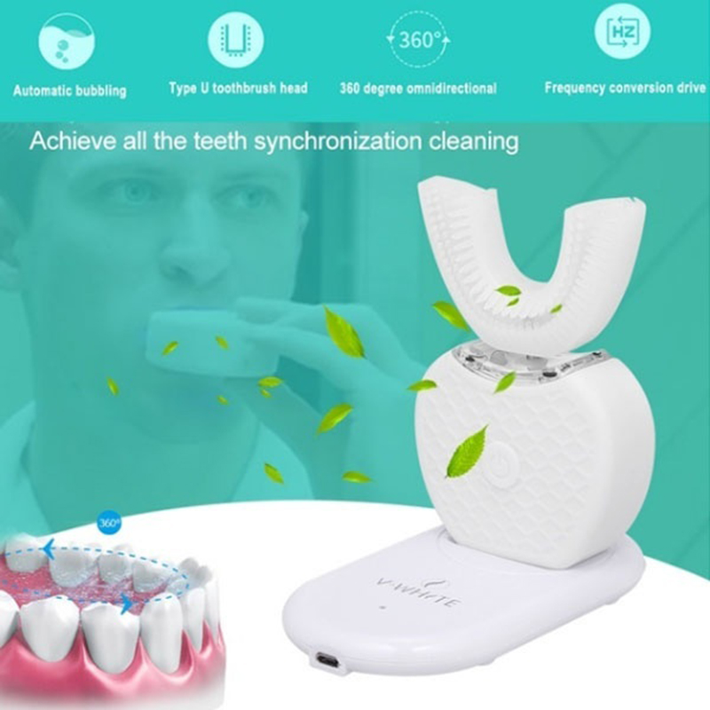 360° Automatic Sonic Electric Toothbrush Waterproof Intelligent U Type Automatic Toothbrush Whitening Electric Power Toothbrush necklace