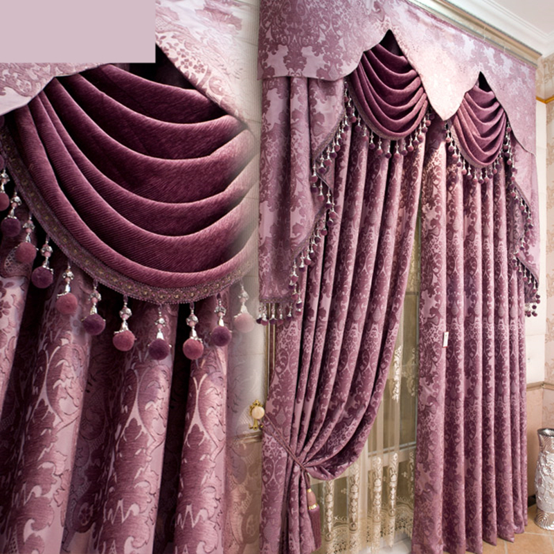 Custom curtains Luxury European chenille jacquard fabric thicken shade purple color cloth blackout curtain tulle valance N184
