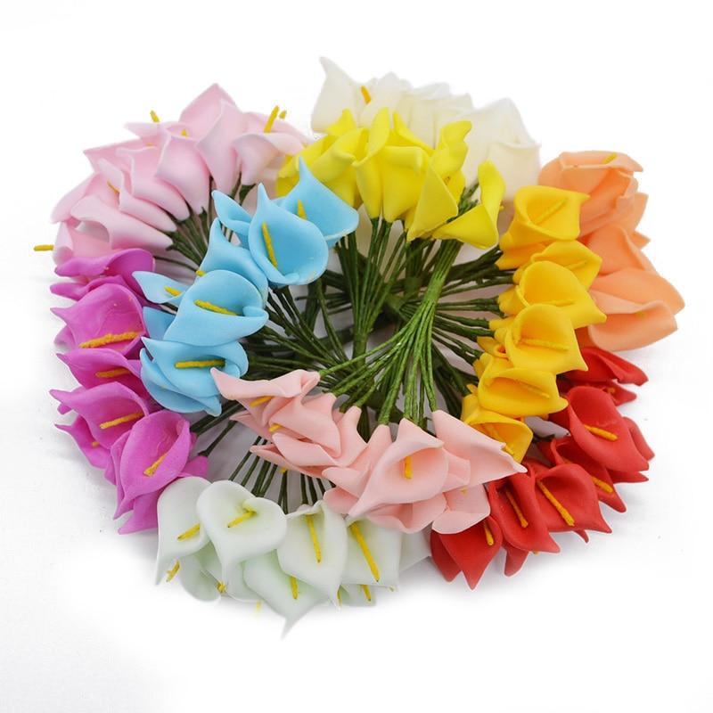144Pcs/Set 10 Colors Artificial Real Calla Flowers All for Wedding Party Arrangement Bouquet of Flowers Noble Artificial Flower