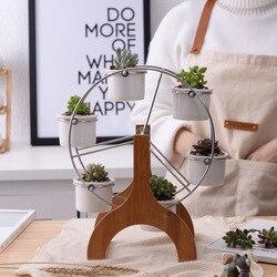 مجموعة من أواني زهور ذات عجلة فيريس من السيراميك الأبيض لتزيين الحدائق أواني زراعة عصارية 6 ألواح صغيرة من بونساي
