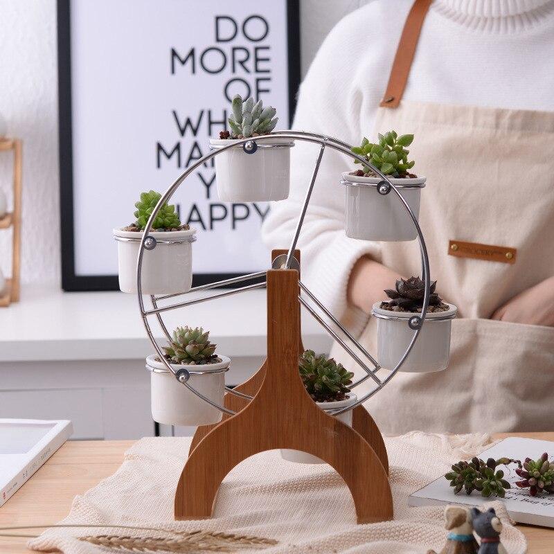 Ensemble de Pots de fleurs à grande roue en céramique blanche décor de jardin jardinières succulentes jardinières Pots 6 Mini bonsaï Panters