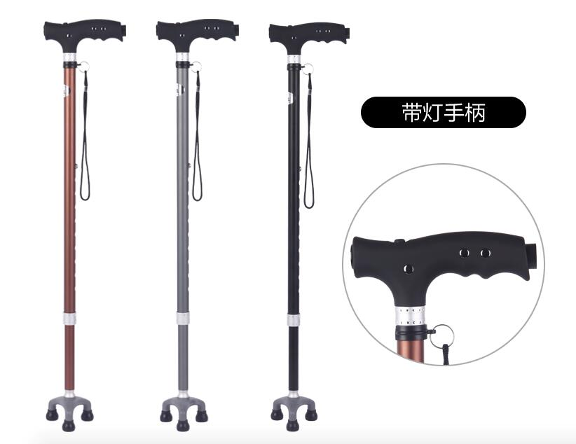 ФОТО 72cm to 92cm adjustable Aluminum walking cane 3 in 1 medical walk stick with light for old people hiking trekking outdoor sports