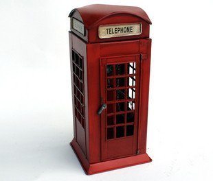 Free shipping Exports of British style hand-painted*Red metal phone booth by hand*Iron booth*Gift