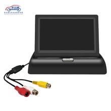 Monitor de estacionamiento LCD plegable de 4,3 pulgadas, retrovisor de coche espejo retrovisor para coche, pantalla de respaldo, 2 entradas de vídeo, cámara de marcha atrás DVD