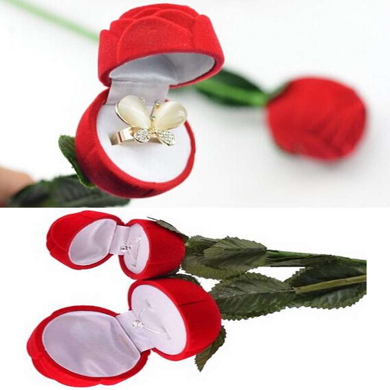 Red Rose Flower Jewelry Display Box Necklace Earrings Ring Box Packaging Gift Box Wholesale For Girlfriend Wholesale Dropship