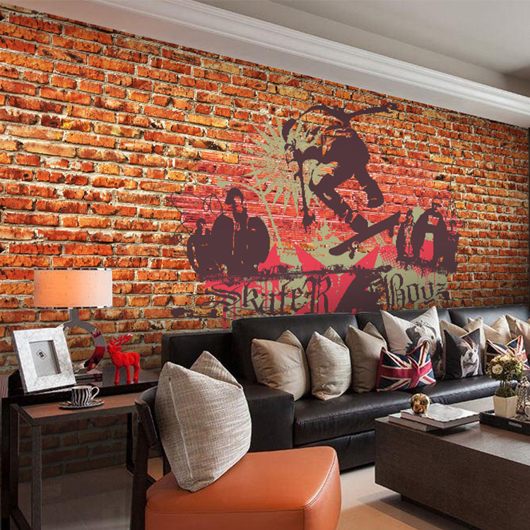 Brick Style Wallpaper Part - 27: Custom Photo Wallpaper Graffiti Art 3d Wallpaper Red Brick Wall Brick  Pattern Wallpaper Nostalgic Street Style Lobby Wallpaper -in Wallpapers  From Home ...