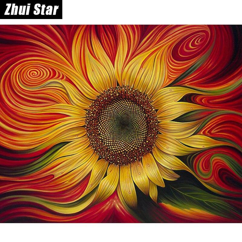 5D DIY Diamond Painting Flaming Sunflower Embroidery Full Square Diamond Cross Stitch Rhinestone Mosaic Painting Home Decor Gift