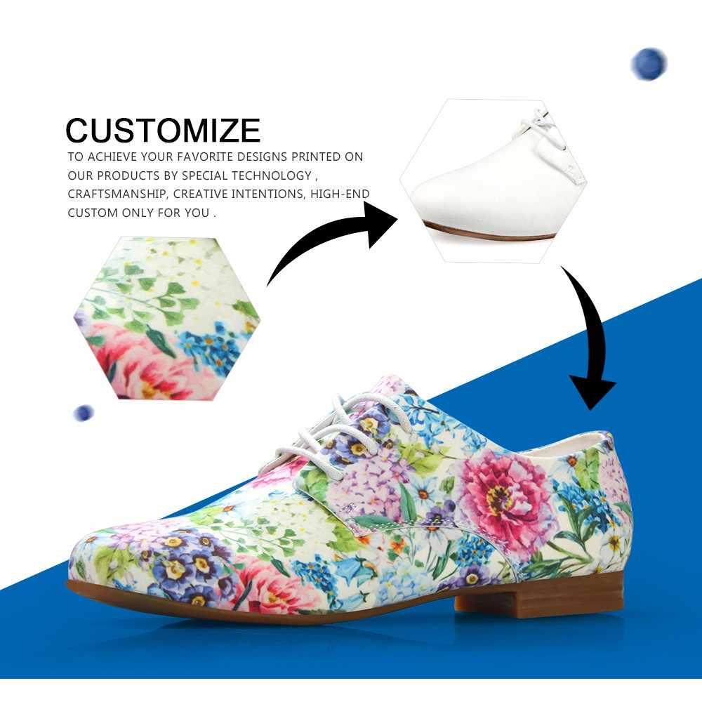FORUDESIGNS Thời Trang Nữ Đơn Giản Thoải Da Oxford cho Nữ In Hoa Người Phụ Nữ Mộc Mạch Trà Ba Lê Bãi Zapatos Mujer