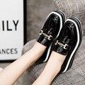 AD AcolorDay 2017 Моды Платформы Женская Обувь Повседневная Классический Красный Черный Лакированные Туфли Женщины Твердого Скольжения на Женщин Лианы