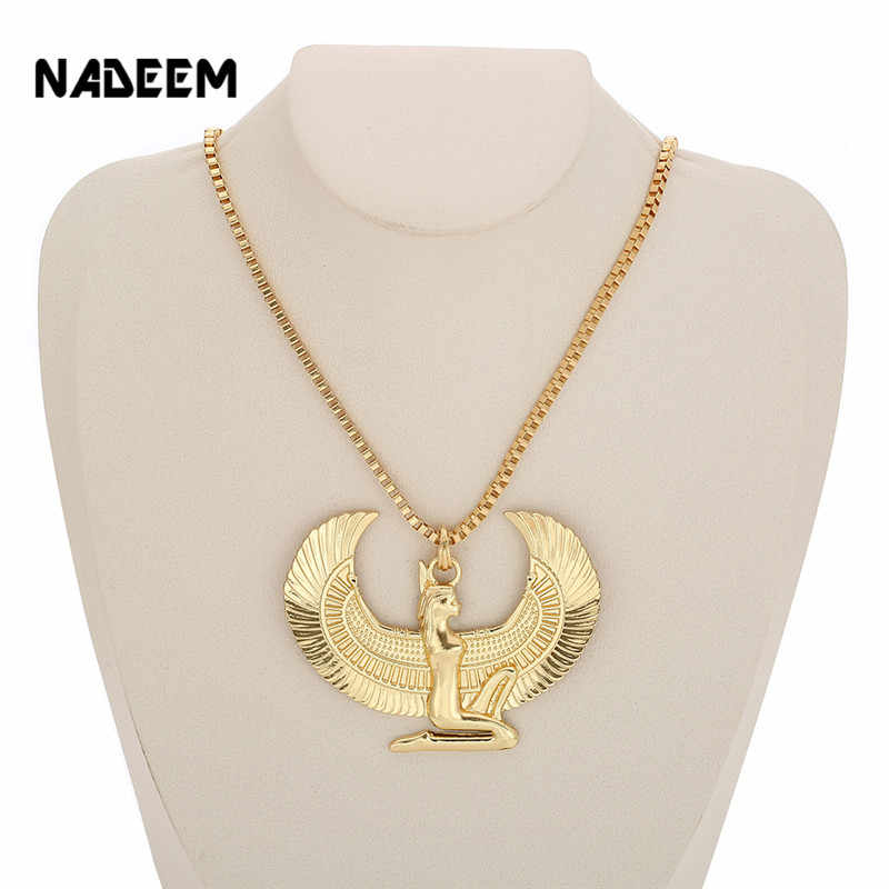New Fashion Gold Color Punk Long Chain Hiphop Eagle Women Necklace Jewelry Egyptian Trendy Cross Angel Isis Pendant Necklace