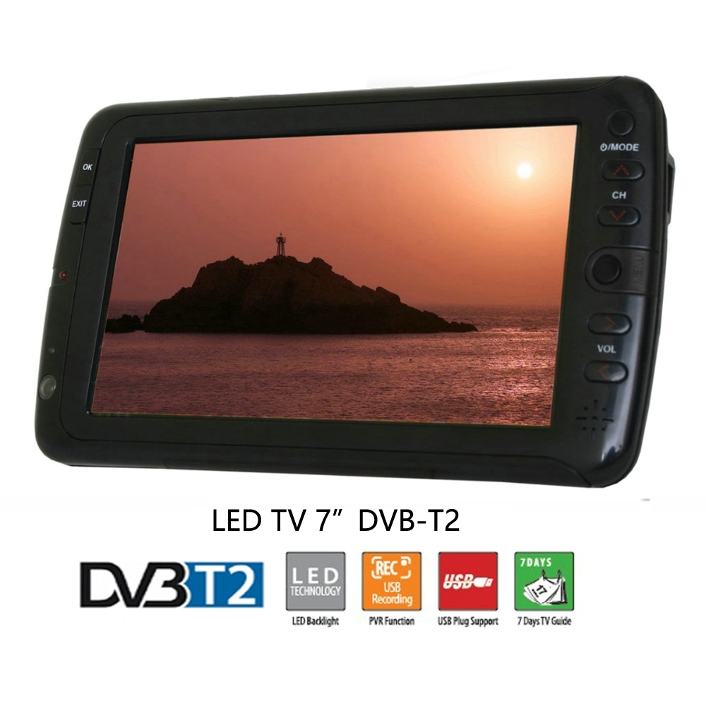 7inch Portable Car TV Television DVB-T2 DVB-T digital Car TV With Dolby Rceiver /w AV USB Port MP3/MP4 Record TV Program