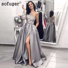 a3dbf86aff Plata gris apliques de encaje de baile de graduación vestidos Sexy  hendidura Alta Largo fajas cuentas vestido de noche Formal 20.