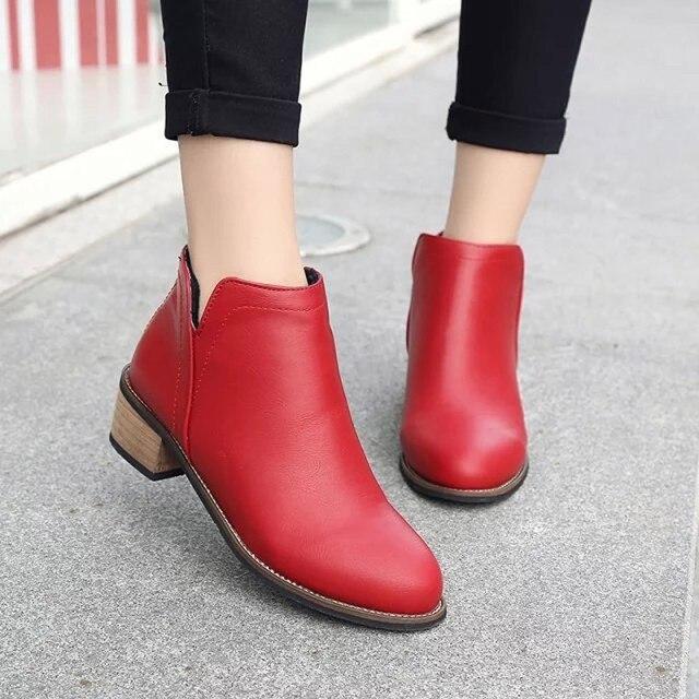 ef7379498 2018 new fashion bota feminina Fashion Women Martin Boots Ankle Boots Scrub  Thick Heel Lady Boots sapato feminino estampado #8