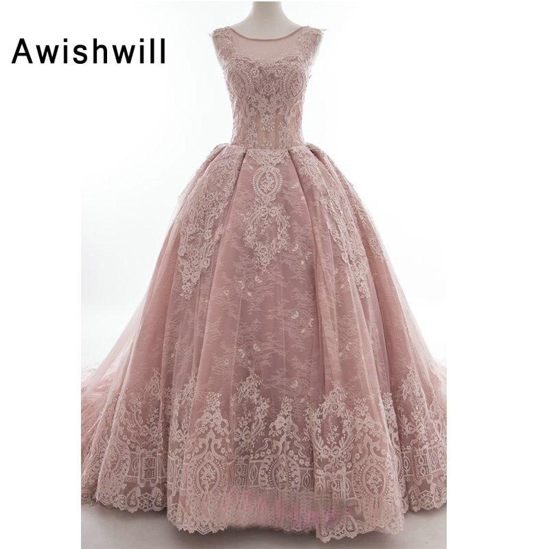 Vraies Photos rose Robe de bal robes de mariée Cap manches dentelle Appliques Tulle Robe de Noiva longue Robe de Mariage sur mesure