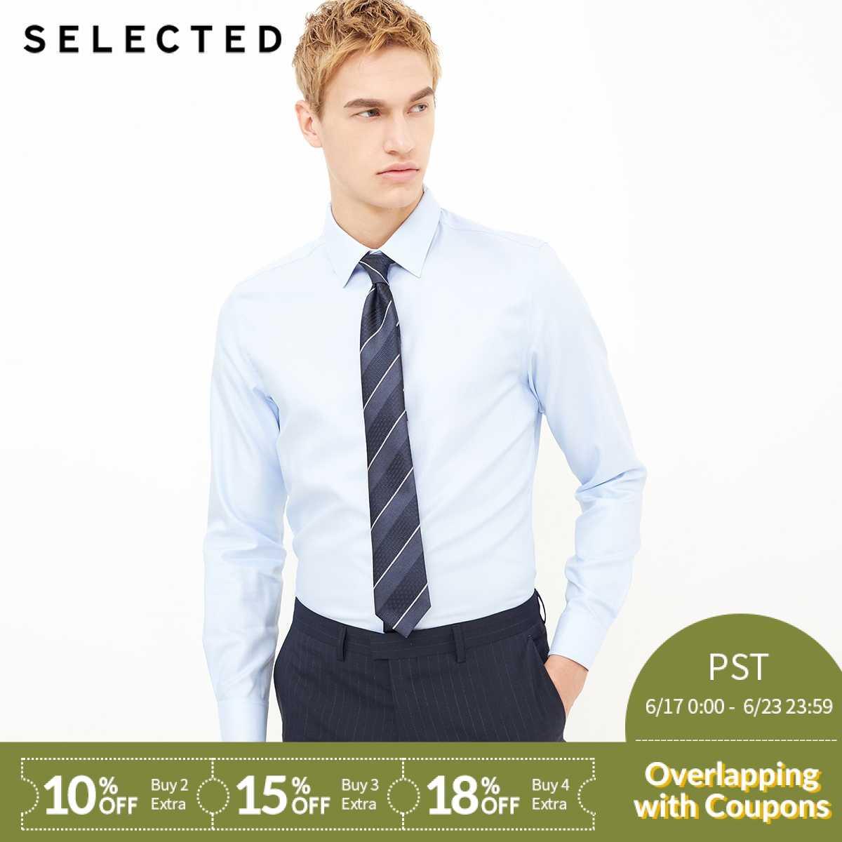 Отборная хлопковая рубашка с v-образным вырезом и длинными рукавами в деловом стиле | 418105543