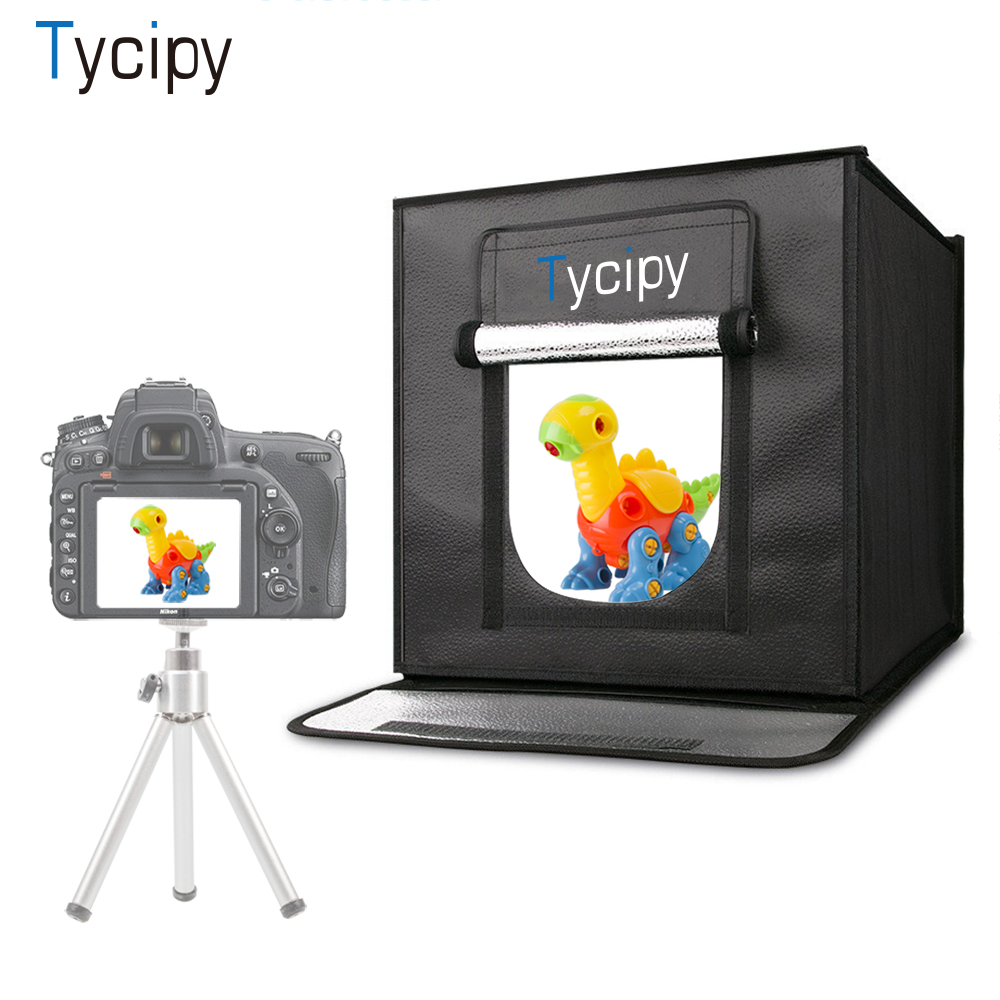 Tycipy 40*40cm LED Photo Studio Softbox Shooting Light Tent Soft Box Portable Bag AC Adapter for Jewelry Toys Shooting Hot Sale cy 70 70 70cm led photo studio softbox shooting light tent soft box portable bag ac adapter for jewelry toys shoting
