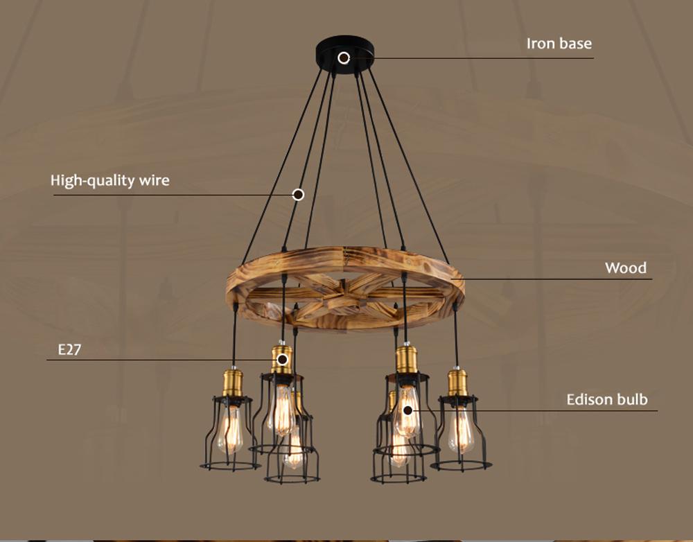 Loft Pendant Lights Solid Wood Retro Hanging Lamp Bar Restaurant Light Fixtures Helmsman Edison Bulb Fixture Art Lighting