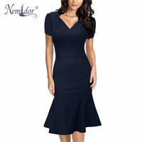 Nemidor Women Official V-Neck Retro Dresses Fitted Business Short Sleeve Party Midi Mermaid Dress