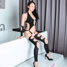 Sexy Women Ice Silk Shiny Open Crotch Bodysuit Hollow Out Shaping Bodysuit Catsuit Body Stockings Backless Jumpsuit With Glove