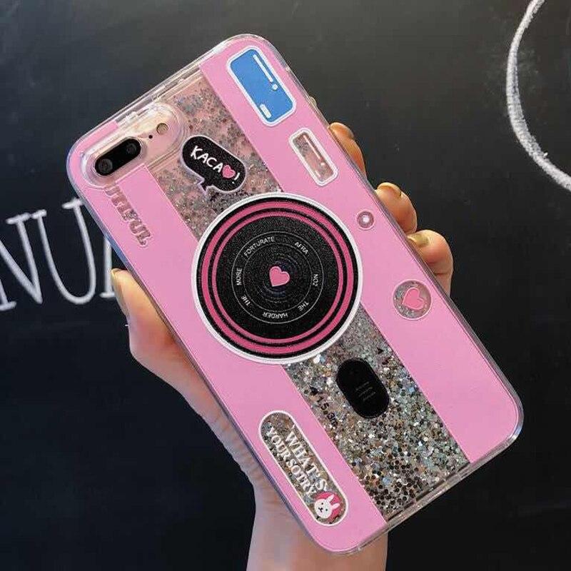 Cute Camera Dynamic Liquid Quicksand Glitter Phone Case For Xiaomi Mi 8 A2 6X A1 5X Mix 2S Redmi 5 plus Note 5 pro Cover Coque (7)