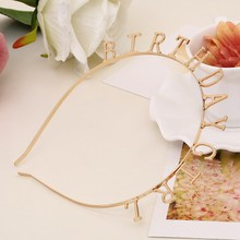 2017 New Girls Funny Metal Letters 'BIRTHDAY GIRL' Hairbands USA Style Children Birthday Headband Hair Accessories Hair band