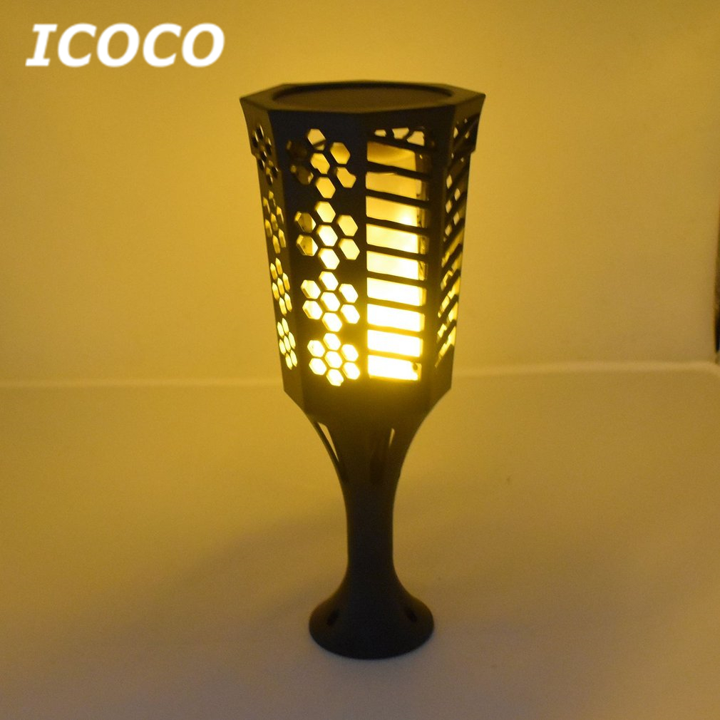 ICOCO 2pcs/set Solar Powered Torch Lights Flickering Flame Light With Ground Stake Torch Lamp Waterproof for Outdoor No Strobe