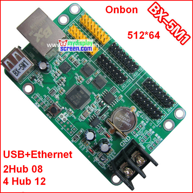 US $23 88 |onbon BX 5M1 controller, usb + ethernet port, 512*64,support  HUB12+hub08,use for monochrome,bi color p10 led module control-in LED  Displays