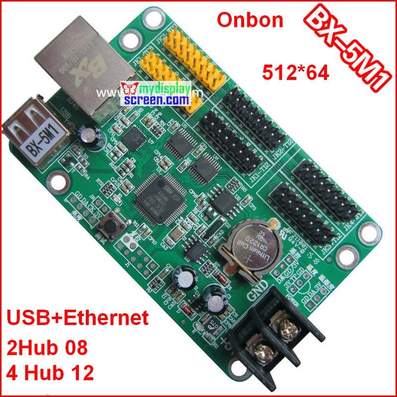 Onbon BX-5M1 Controller, Usb + Ethernet Port, 512*64,support HUB12+hub08,use For Monochrome,bi-color P10 Led Module Control