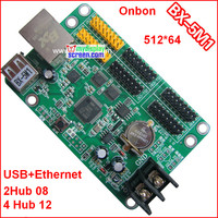 onbon BX 5M1 controller, usb + ethernet port, 512*64,support HUB12+hub08,use for monochrome,bi color p10 led module control